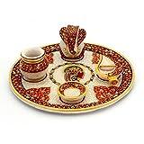 Mahadev Handicrafts Gold Painted Lord Ganesha Idol Designer Glossy Marble Pooja Thali