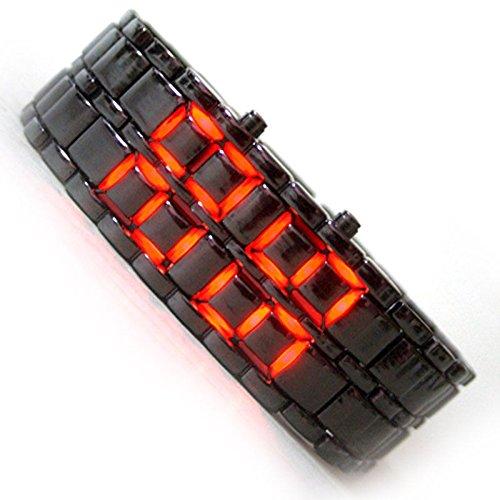 AINFOTECH RED LED Black Samurai Steel Red LED Digital Watch Cum Bracelet For Mens & Women ...