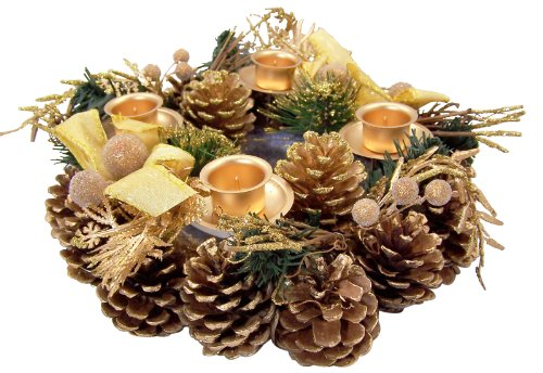 Gold Glitter Pine Cone with Ribbon Advent Candle Holder Wreath Seasonal Decoration