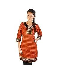 Jaipur RagaEthnic Girls Hand Block Print Red Cotton Kurti Woman Cotton Kurti