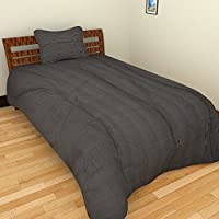 """Tangia 200 TC Cotton Bed Sheet 48"""" X 90"""" With 1 Pillow Cover - Striped, Black For Doctor's Clinics, Therapy Centers..."""