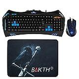 BAKTH BAKTH-K-XT71-AK - Teclado (retroiluminado, LED, USB - kit con ratón de 2400 dpi y alfombrilla), color negro y azul