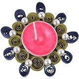 Ishu's Creation Wax, Quelling Paper & Pearls Decorative Tealight Candle (8 Cm X 8 Cm 2 Cm, Multi, Ish7_1,)