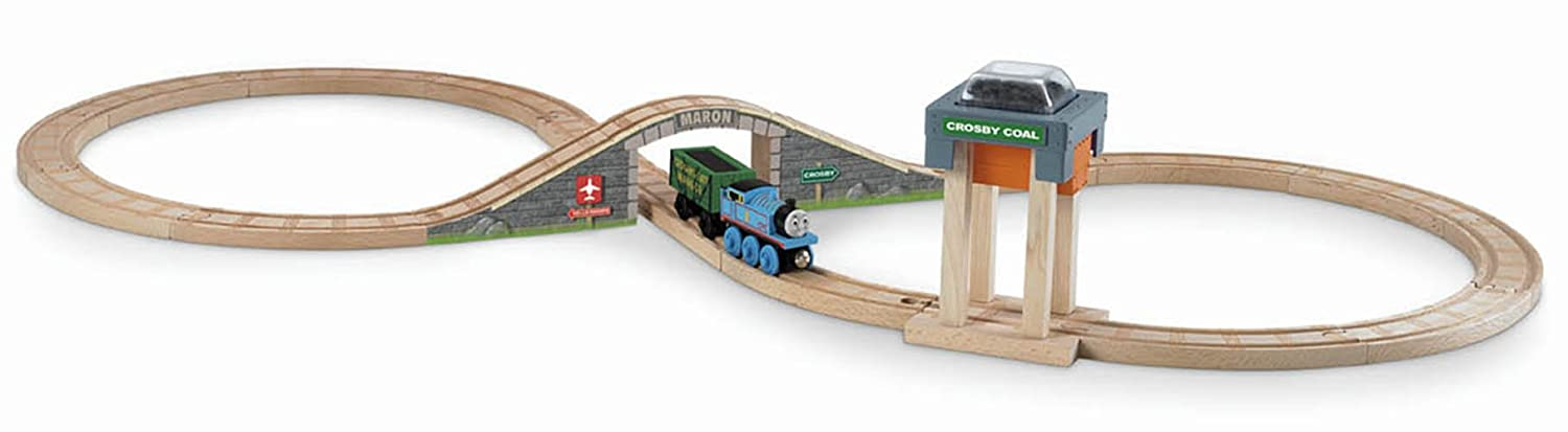 Wooden train set for a toddler
