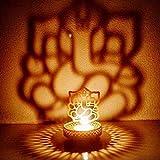 ECraftIndia Shadow Ganesh Ji Tea Light Holder With Free Tealight