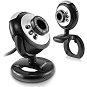 Insten 16.0 Mega Pixel USB Digital 6 LED Webcam Camera With Microphone For Laptop PC Desktop Silver Black Round