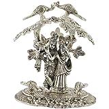 Maximilian Tradelinks Aluminum Radha Krishna Idol (6 Cm X 4 Cm X 9 Cm, Silver)