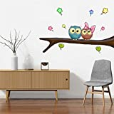 Rawpockets Decal ' Owl Pair' Multi-Color Medium Size Wall Sticker(Material- PVC Vinyl Matte Finish,Wall Coverage Area -Height -55cm X Width -95cm)( Pack Of 1)
