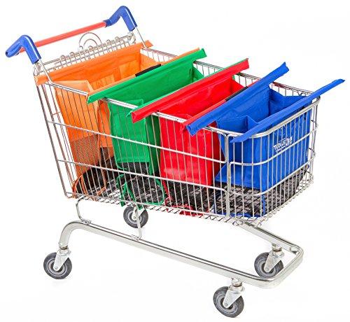 Trolley bags 4 Sacs à Courses / Commissions avec Poignées Renforcées - Parfait Pour Chariot