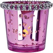 Luna Bazaar Vintage Mercury Glass Candle Holder With Rhinestones (2.5 Inch, Fuchsia Pink) For Use With Tea Lights...