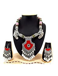 9blings Navratri Special Silver Oxized And Silver Coin Multi Beads Long Necklace Silver Necklace Set Rn75