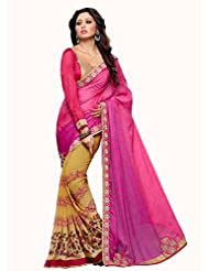 Admyrin Multi Colour Georgette Saree With Border Work And Pink Blouse Piece
