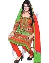 Exotic India Bittersweet-Red And Green Digital Printed Choodidaar Kameez S - Red