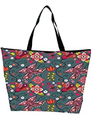 Snoogg Seamless Pattern With Butterflies And Flowers Waterproof Bag Made Of High Strength Nylon - B01I1KM652