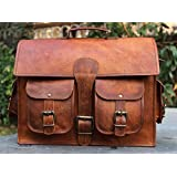 Blue City Men's Genuine Vintage Brown Leather Messenger Bag Shoulder Laptop Bag Briefcase