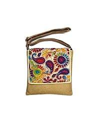 Bhamini Jute Sling Bag With Rainbow Flap (Dark Gold)