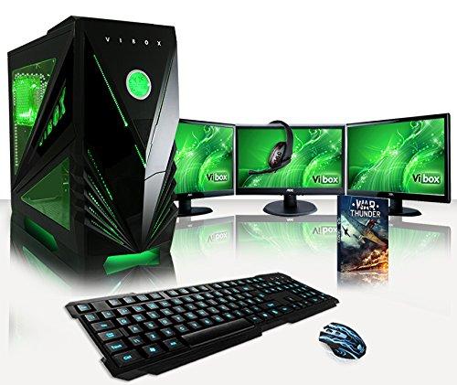 """VIBOX Warrior Komplett-PC Paket 7 - 4,0GHz AMD FX Quad-Core Prozessor, GTX 1060, leistungsfähig, Desktop Gamer Computer mit Exklusiv WarThunder Spiel Gutschein, 3x Dreifach 24"""" Monitor, Gamer Tastatur & Mouse, Grün Innenbeleuchtung, lebenslange Garantie* (3,8GHz (4,0GHz Turbo) Superschneller AMD FX 4300 Quad-Core Prozessor CPU, Nvidia GeForce GTX 1060 3GB Grafikkarte, 16GB DDR3 1600MHz RAM, Tastatur & Mouse Set (DE QWERTZ), 450W 85+ Netzteil, Vibox grünes Gehäuse, Ohne Windows Betriebssystem)"""