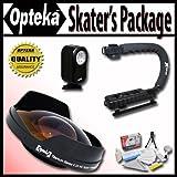 Opteka Deluxe Skaters Package (Includes The Opteka 0.3X Ultra Fisheye Lens X-Grip Handle & VL-20 LED Video Light... - B005GPBT2M