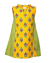 Budding Bees Girls Yellow And Green Printed A-Line Dress