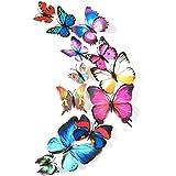 Blue 24PCS 3D Butterfly Wall Stickers Decor Art Decorations 3 Size