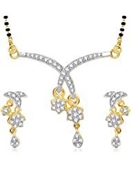 Meenaz Mangalsutra Pendant Set With Earrings For Women Girls Jewellery Set Gold Plated In Cz American Diamond... - B010XRND6M