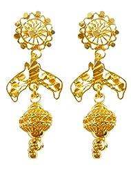DollsofIndia Pair Of Gold Plated Dangle Earrings - Metal - Golden