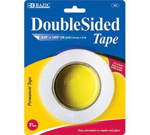 """BAZIC 1"""" X 36 Yard  Double Sided Tape, Case Pack of 72"""