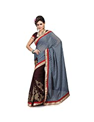 Firstloot GREY+BROWN GEORGETTE JACQUARD+ GEORGETTE Embroidered Saree