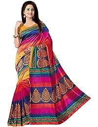 Glory Sarees Women's Bhagalpuri Art Silk Cotton Saree (gloryart04_pink And Blue)