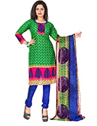 Sonal Trendz Green Color Printed Suit. Festive Cotton Jacquard Printed Suit. - B0176HWAYI