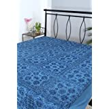 Rajrang Blue Cotton Embroidered With Mirror Work Bedsheet Single #Bst02086