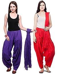 Fashion Store Patiala Salwars And Dupatta Set Combo(Free Size,Royal Blue & Red)