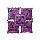 Rajrang Purple Cotton Patch Work Cushion Cover Set Of 5 Pcs #Ccs05699