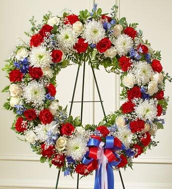 1-800-Flowers - Serene Blessings Red, White & Blue Standing Wreath - Large