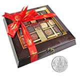 Chocholik Belgium Chocolate Gifts - Assortment Of Exotic Chocolates With 5gm Pure Silver Coin - Diwali Gifts