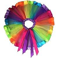 Girls Layered Rainbow Tutu Skirt Dance Dress Ruffle Tiered