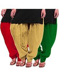 Women's Red Beige-Green Cotton Patiala Salwar
