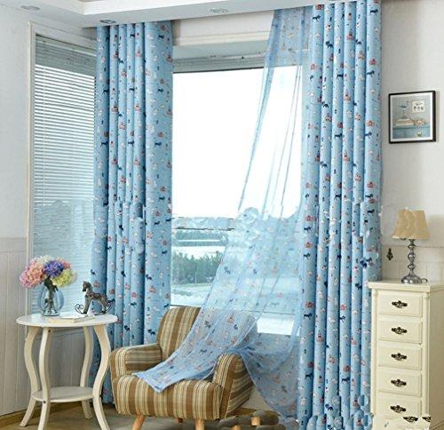 Bellabrunnen 2er Set Gardinen Kinderzimmer Vorhänge mit Schlaufen 1x2,7m ,Blau