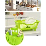 Home Kitchen Dish Drainer Rack Drying Tray Sink Holder Basket Organizer (Green)