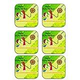MeSleep Happy Raksha Bandhan Wooden Coaster-Set Of 6 - B013LEPBSC