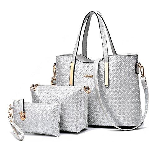 Tibes mode pu cuir sac à main + sac à bandoulière + sac 3pcs sac Argent