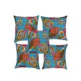 Rajrang Blue Cotton 0 Cushion Cover Set Of 5 Pcs #Ccs06655