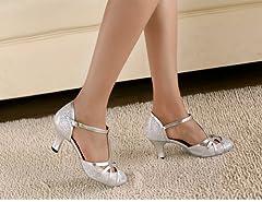 Minitoo QJ6133 Womens Kitten Heel Silver Glitter Salsa Tango Ballroom Latin T-Strap Dance Sandals 9 M US