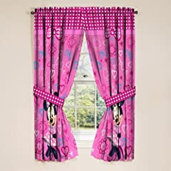 Disney Minnie Mouse Window Panels Curtains Drapes Pink Bow-tique