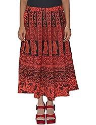 Gurukripa Shopee Women's Cotton Wrap-around Skirt (Red) - B01I1DAZ7U