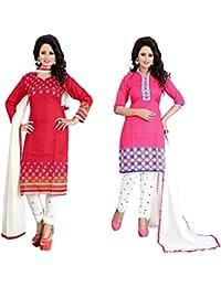 Marmic Fab Women's Cotton Printed Unstitched Regular Wear Salwar Suit Dress Material(Combo Pack Of 2)(MR_Dressmaterial... - B01N0W1D5X