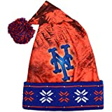 MLB New York Mets Unisex Light Up Printed Santa Hat, One Size Fits Most