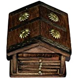 Tramp & Badger Hand Crafted Sheesham Wooden Beautiful Tea Coaster With Hut Holder For Home Decor/Perfect Gift Item (6 Coaster, 1 Hut) (Dimension:-Lx8, Bx10, Hx11 Cm)