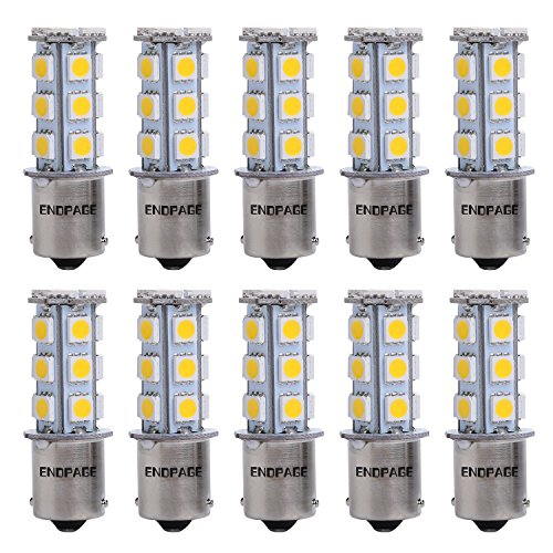 ENDPAGE 10x 1156 BA15S 7506 1003 1141 18-SMD Warm White Car LED Bulbs Replacement for Interior Lights Tail Lights Brake Lamp Backup Reverse Lights Fit RV Camper Van etc.