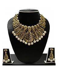 Zaveri Pearls Antique Gold Tone Pearl Drop Set ZPFK129 For Women